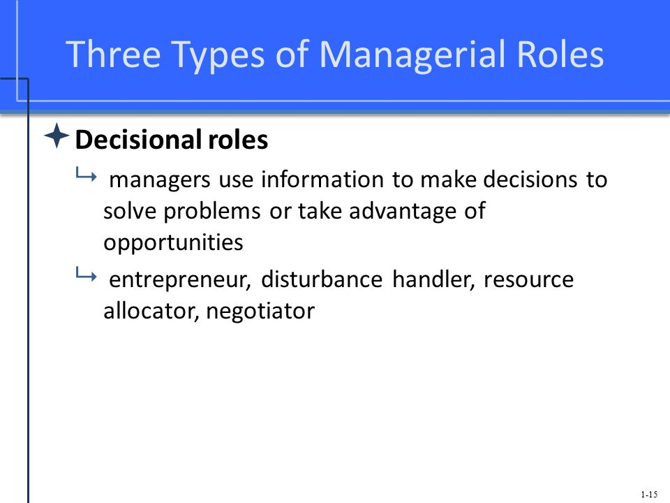 Three Types of Managerial Roles