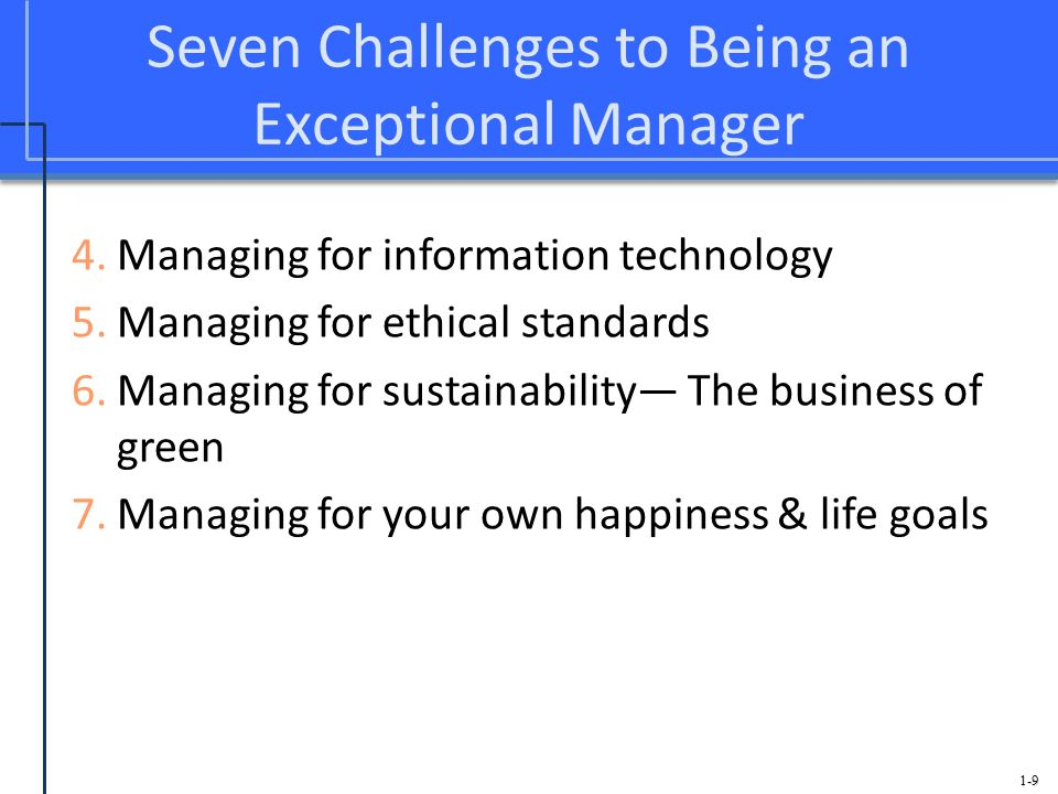 Seven Challenges to Being an Exceptional Manager