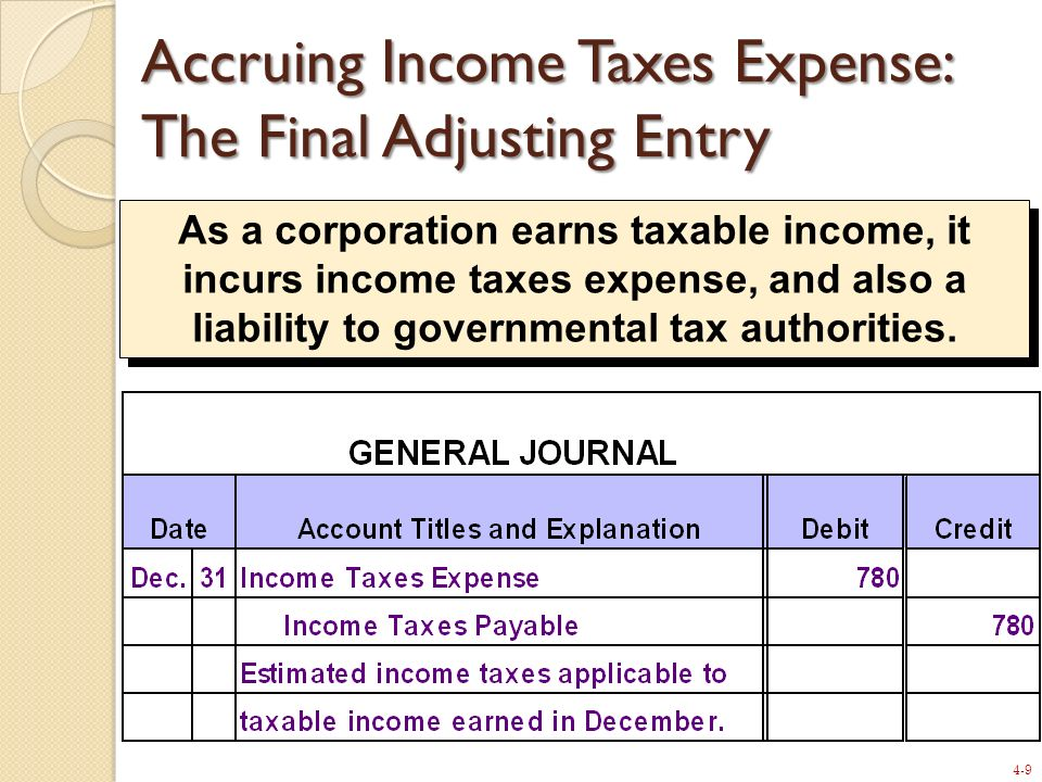 Accruing Income Taxes Expense: The Final Adjusting Entry