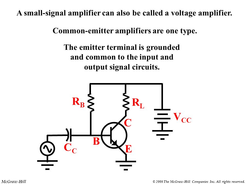 A small-signal amplifier can also be called a voltage amplifier.