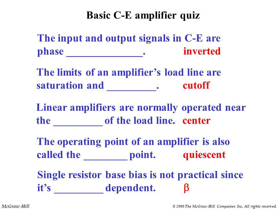 Basic C-E amplifier quiz