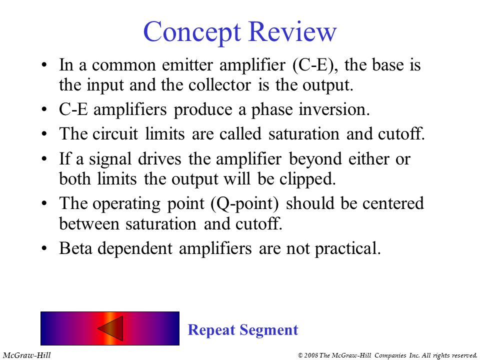 Concept Review In a common emitter amplifier (C-E), the base is the input and the collector is the output.