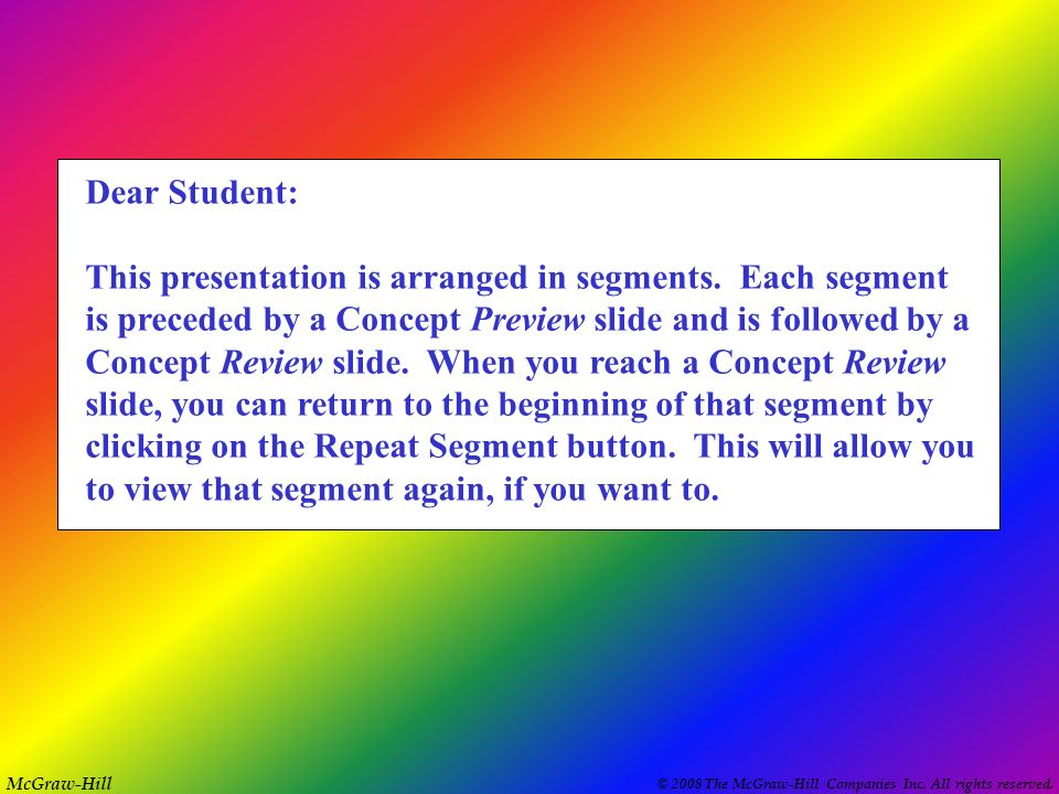 Dear Student: This presentation is arranged in segments. Each segment. is preceded by a Concept Preview slide and is followed by a.