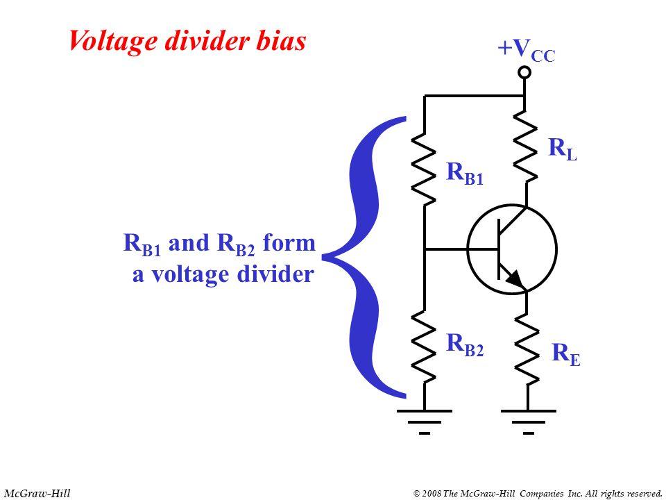 { Voltage divider bias +VCC RL RB1 RB1 and RB2 form a voltage divider
