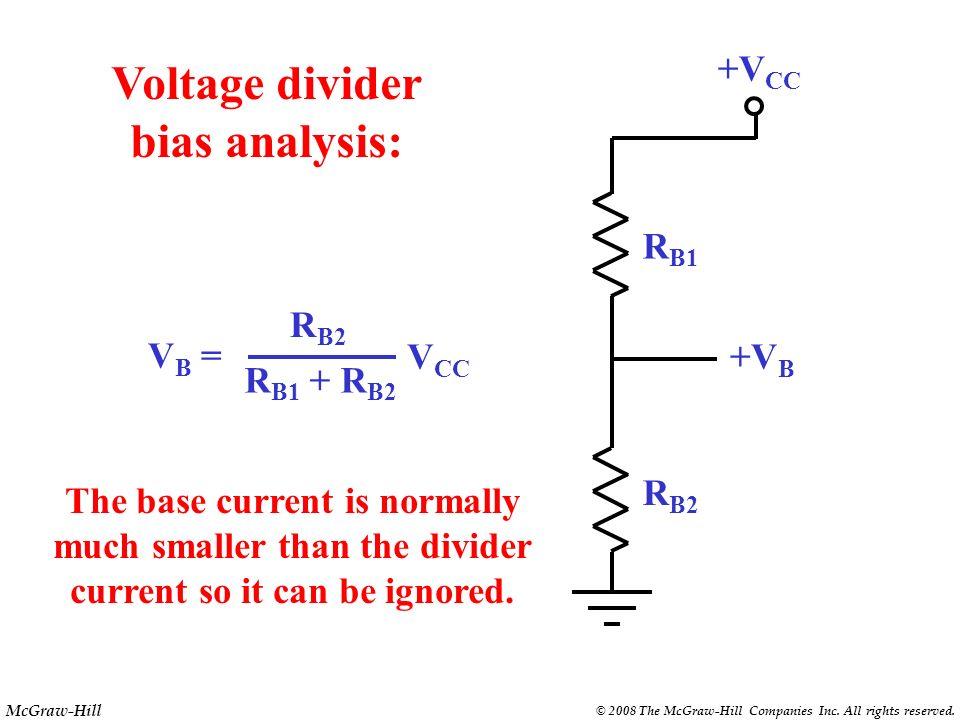 Voltage divider bias analysis: