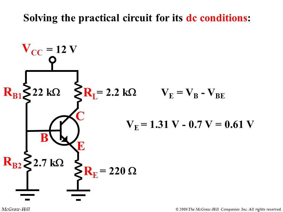 Solving the practical circuit for its dc conditions: