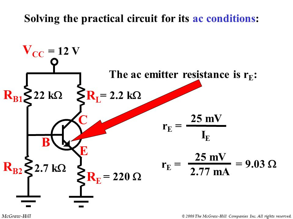 Solving the practical circuit for its ac conditions: