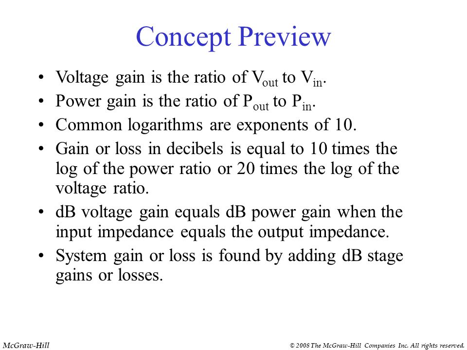 Concept Preview Voltage gain is the ratio of Vout to Vin.