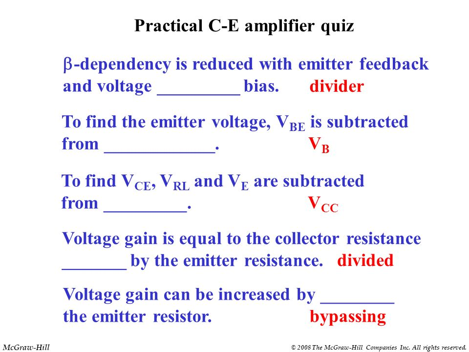 Practical C-E amplifier quiz