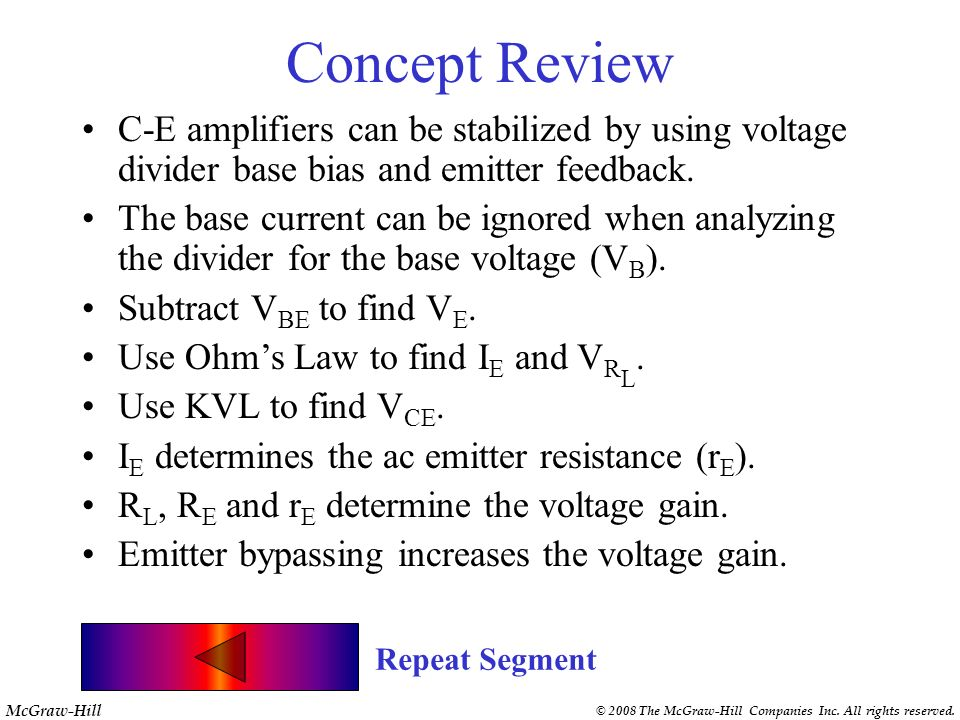 Concept ReviewC-E amplifiers can be stabilized by using voltage divider base bias and emitter feedback.