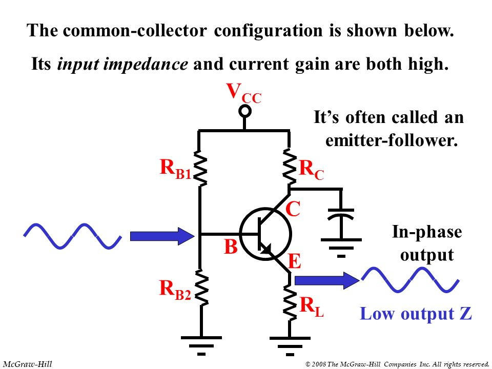 The common-collector configuration is shown below.