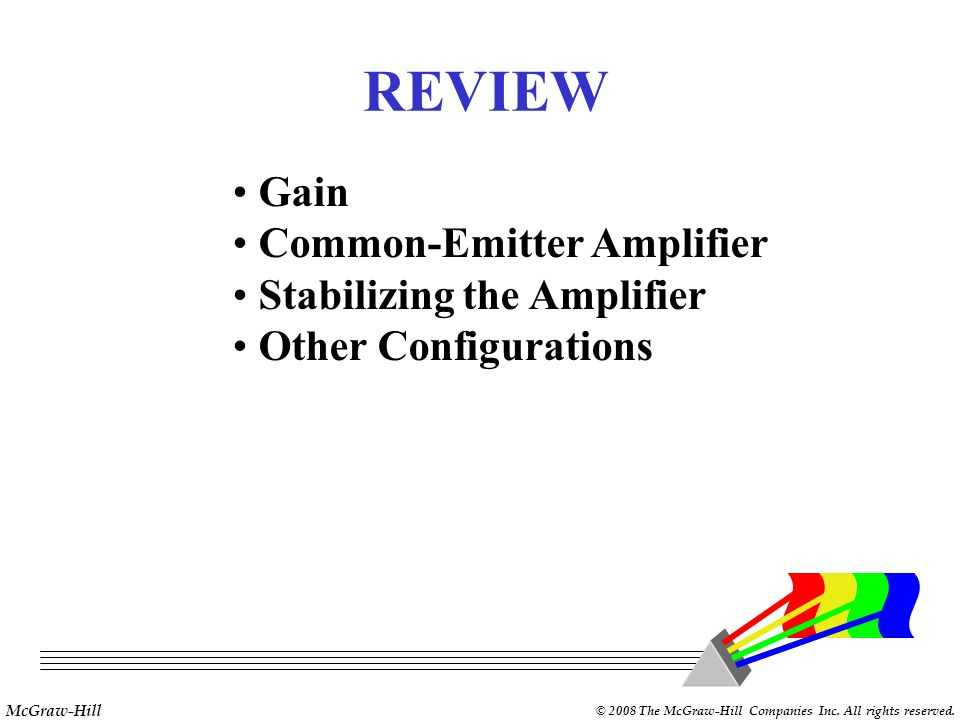 REVIEW Gain Common-Emitter Amplifier Stabilizing the Amplifier