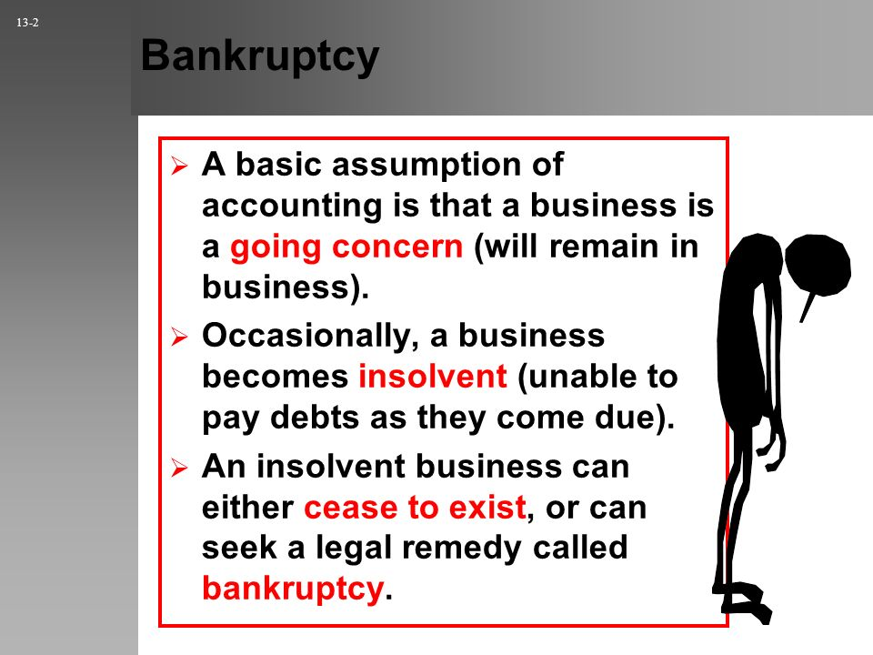 Bankruptcy A basic assumption of accounting is that a business is a going concern (will remain in business).