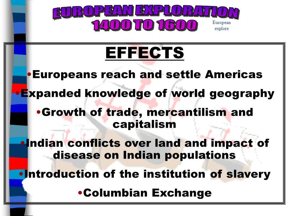 analyze the impact of european colonization Assess the impact of european settlement on the environment as europeans moved beyond exploration and into colonization of the americas, they brought changes to virtually every aspect of the land and its people, from trade and hunting to warfare and personal property.