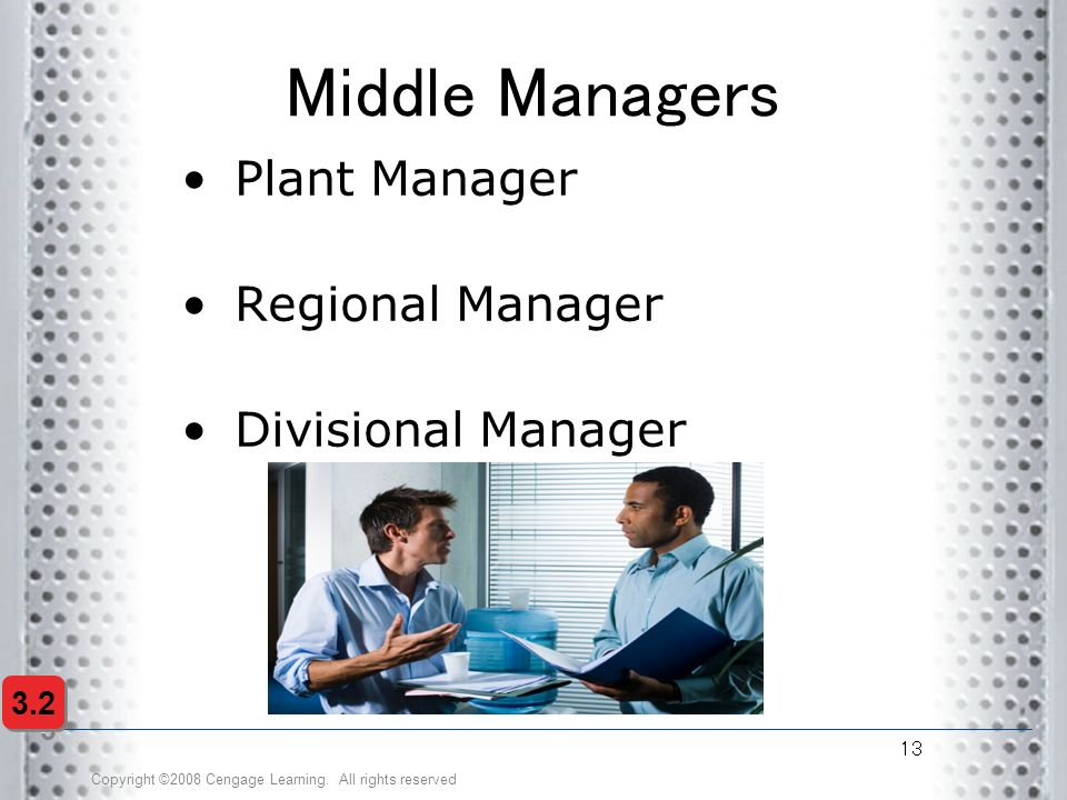 Middle Managers Plant Manager Regional Manager Divisional Manager 3.2