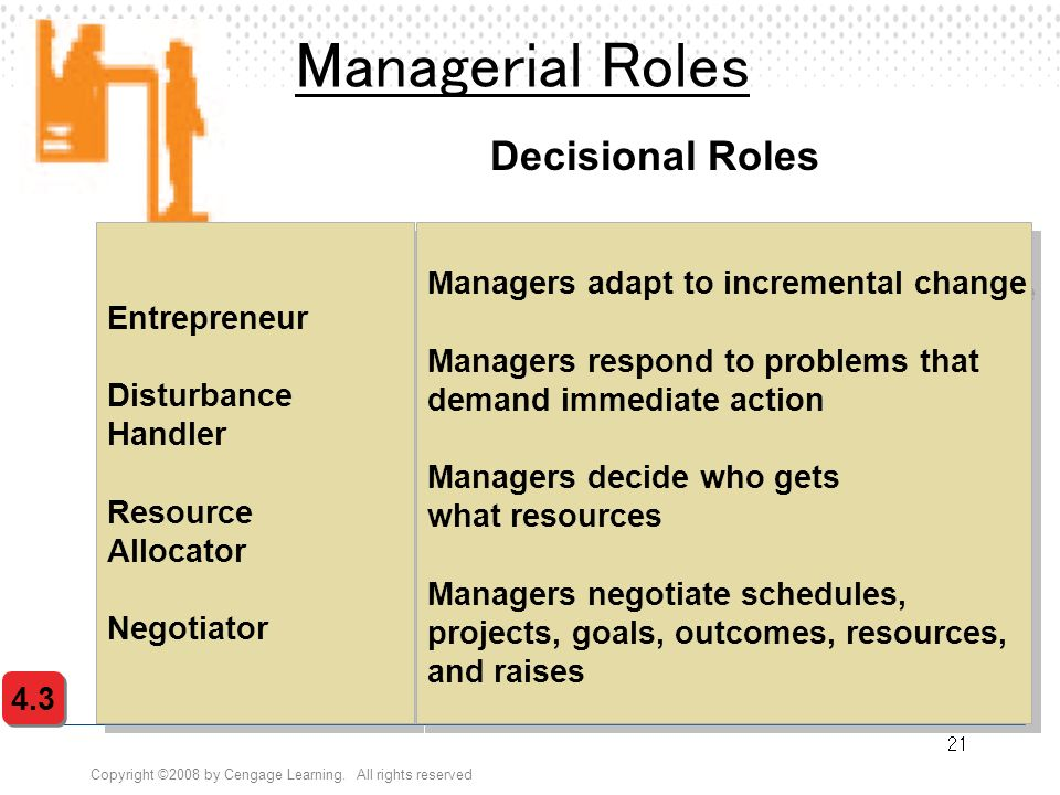 Managerial Roles Decisional Roles Managers adapt to incremental change