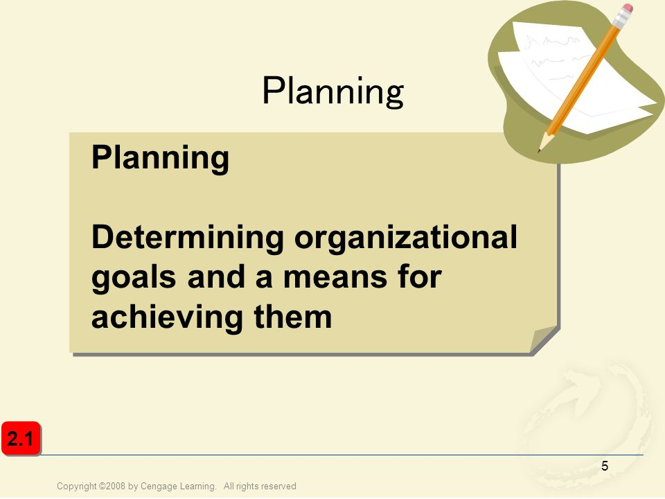Planning Planning Determining organizational goals and a means for achieving them 2.1