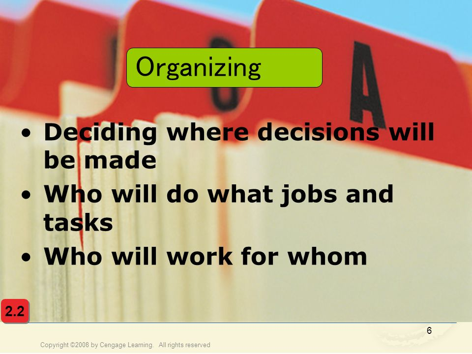Organizing Deciding where decisions will be made
