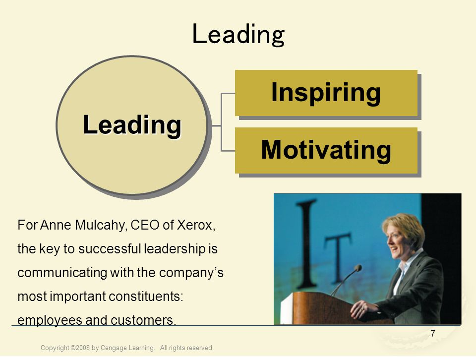 Leading Inspiring Leading Motivating For Anne Mulcahy, CEO of Xerox,