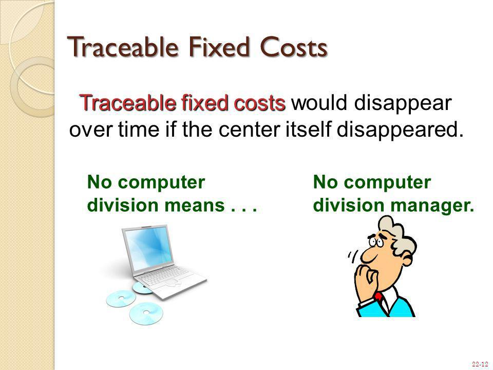 Traceable Fixed Costs Traceable fixed costs would disappear over time if the center itself disappeared.