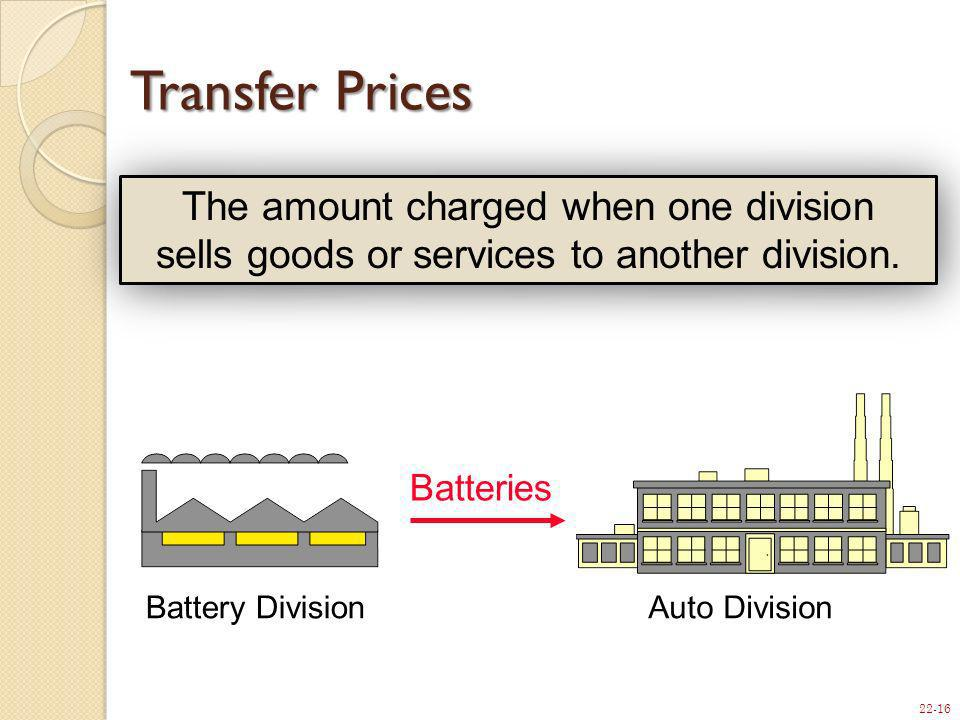 Transfer Prices The amount charged when one division sells goods or services to another division.