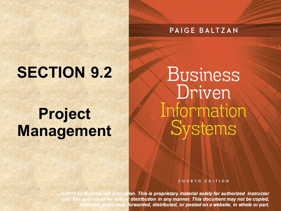 SECTION 9.2 Project Management