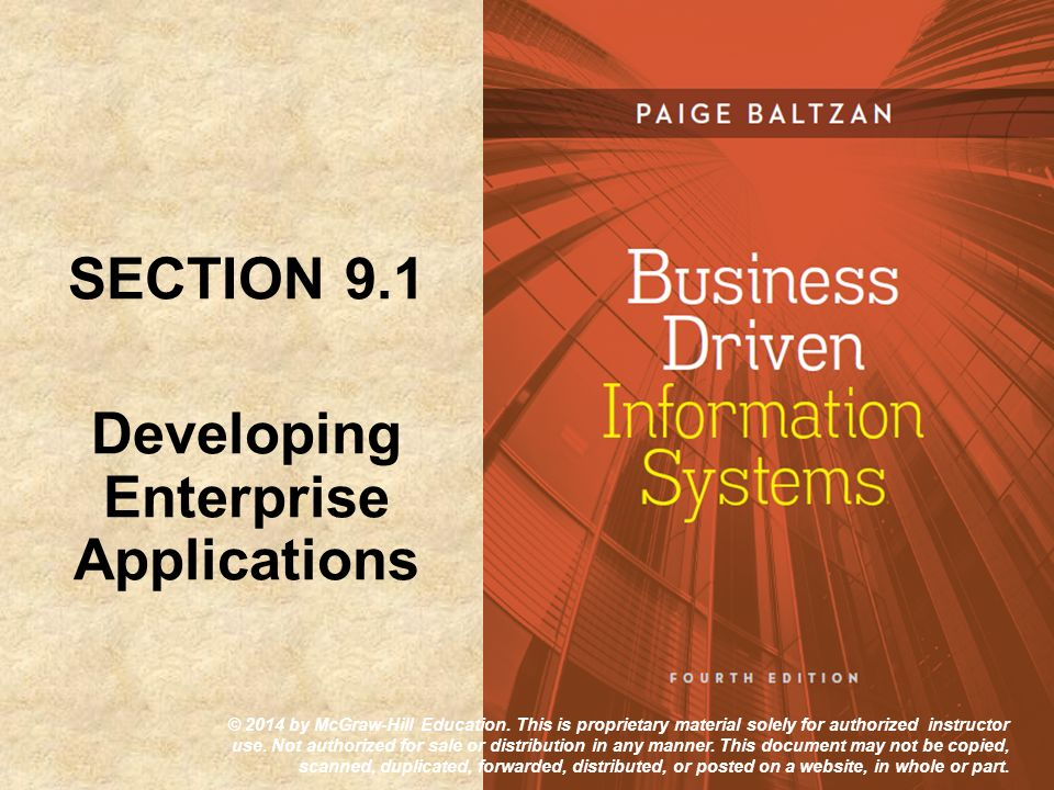 SECTION 9.1 Developing Enterprise Applications