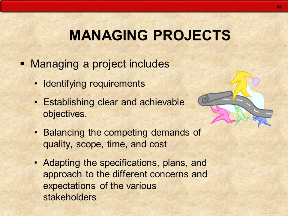 MANAGING PROJECTS Managing a project includes Identifying requirements