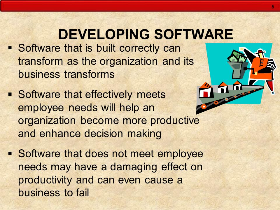 DEVELOPING SOFTWARE Software that is built correctly can transform as the organization and its business transforms.