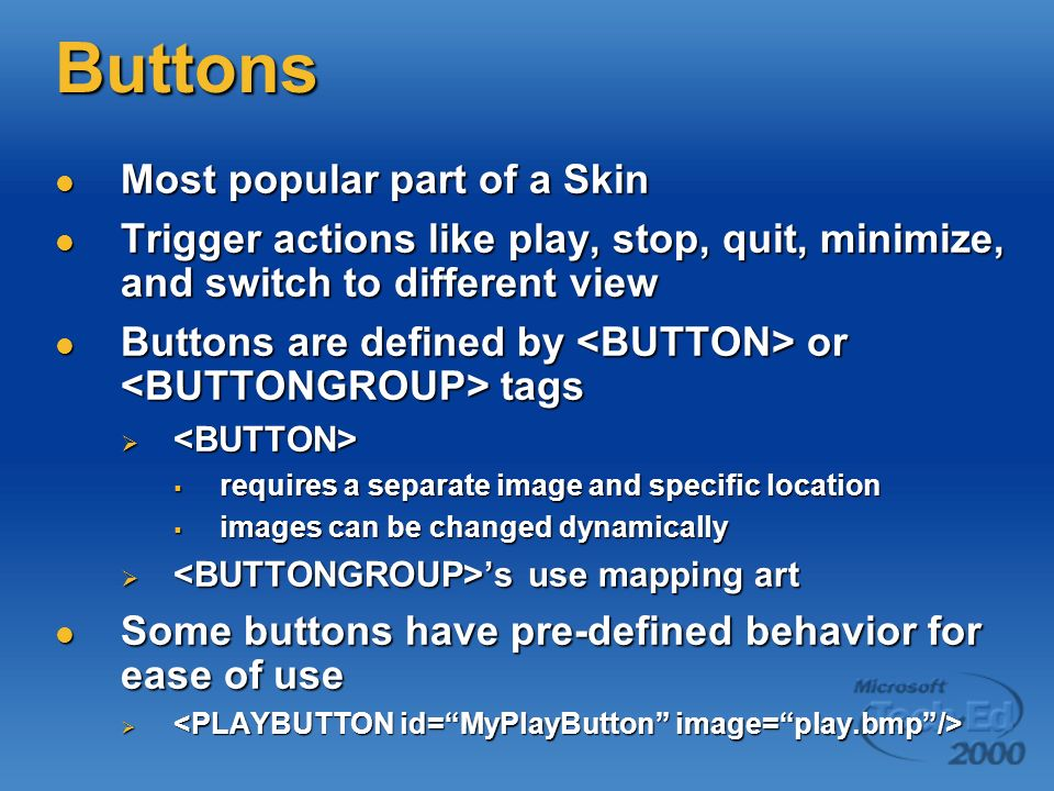 Buttons Most popular part of a Skin