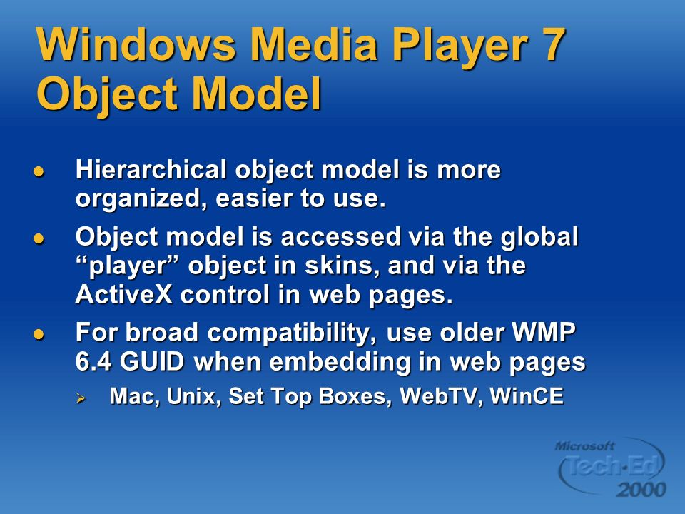 Windows Media Player 7 Object Model