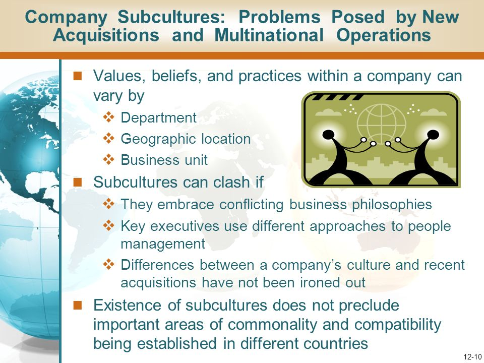 Company Subcultures: Problems Posed by New Acquisitions and Multinational Operations