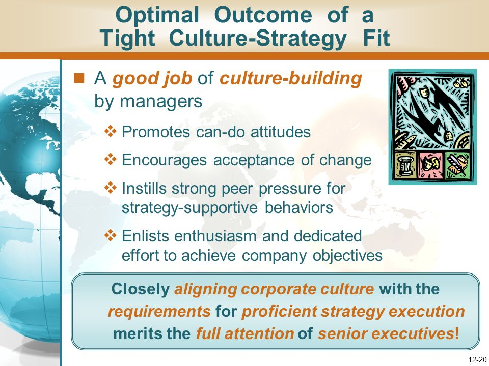 Optimal Outcome of a Tight Culture-Strategy Fit