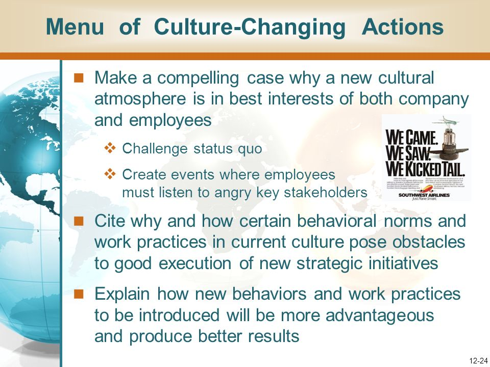 Menu of Culture-Changing Actions
