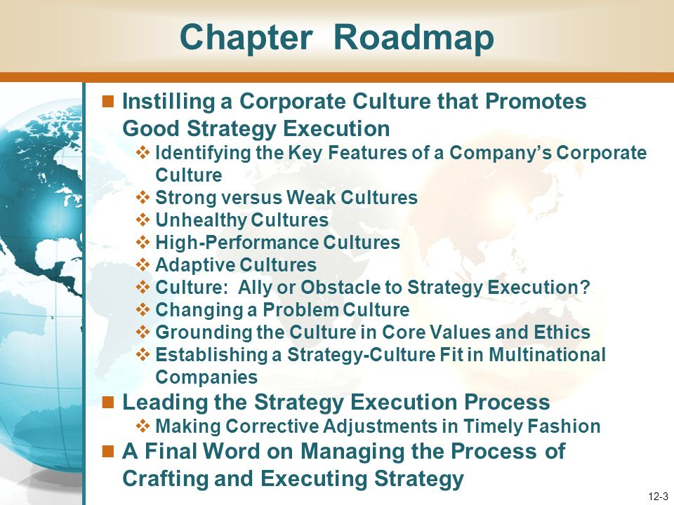 Chapter Roadmap Instilling a Corporate Culture that Promotes Good Strategy Execution. Identifying the Key Features of a Company's Corporate Culture.