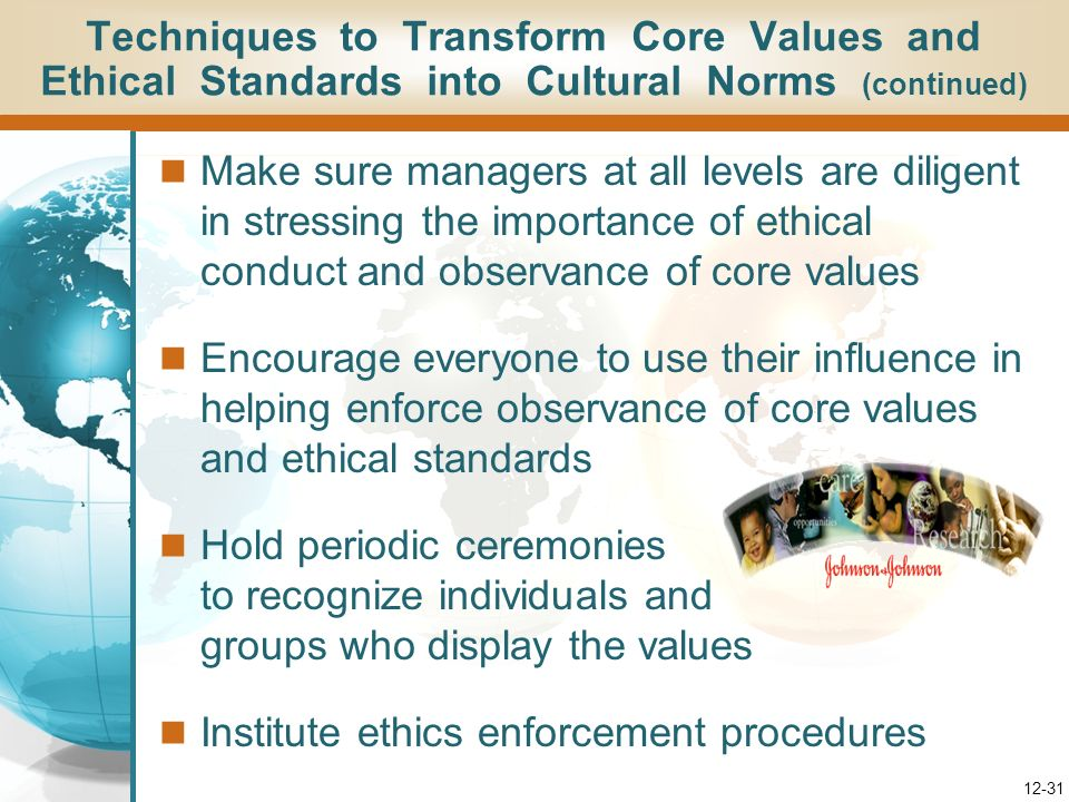 Techniques to Transform Core Values and Ethical Standards into Cultural Norms (continued)