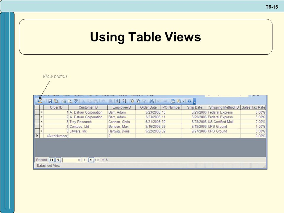 Using Table Views View button
