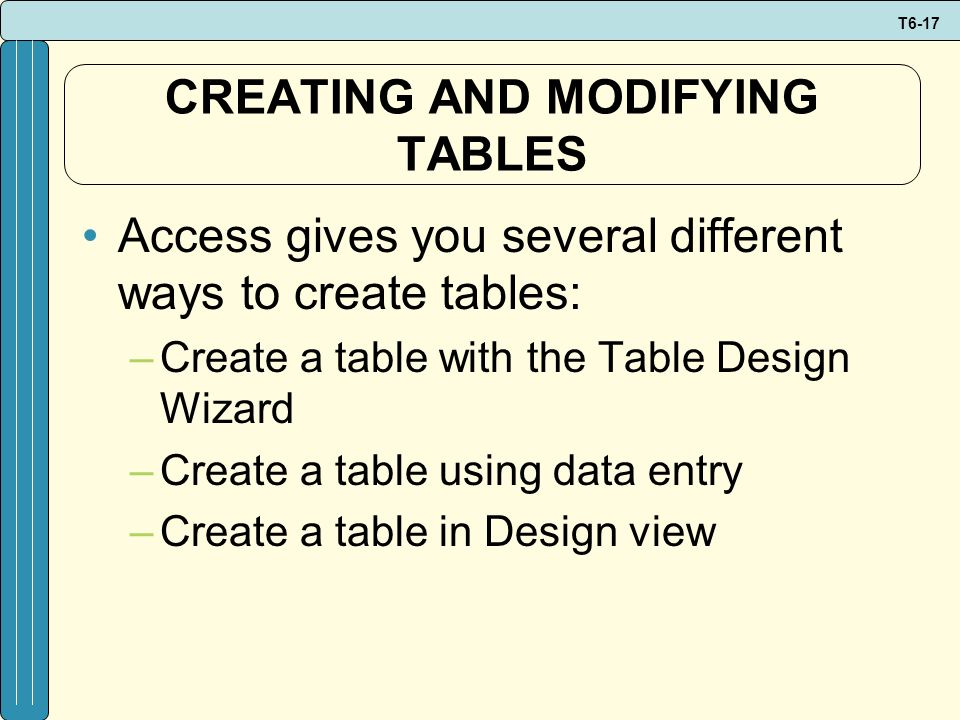 CREATING AND MODIFYING TABLES