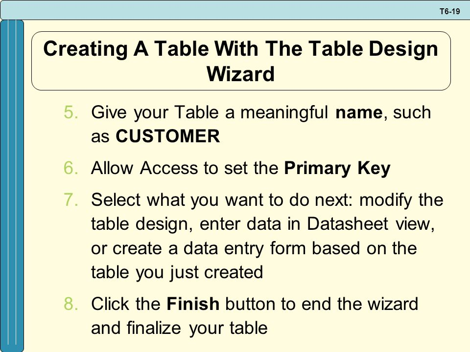Creating A Table With The Table Design Wizard