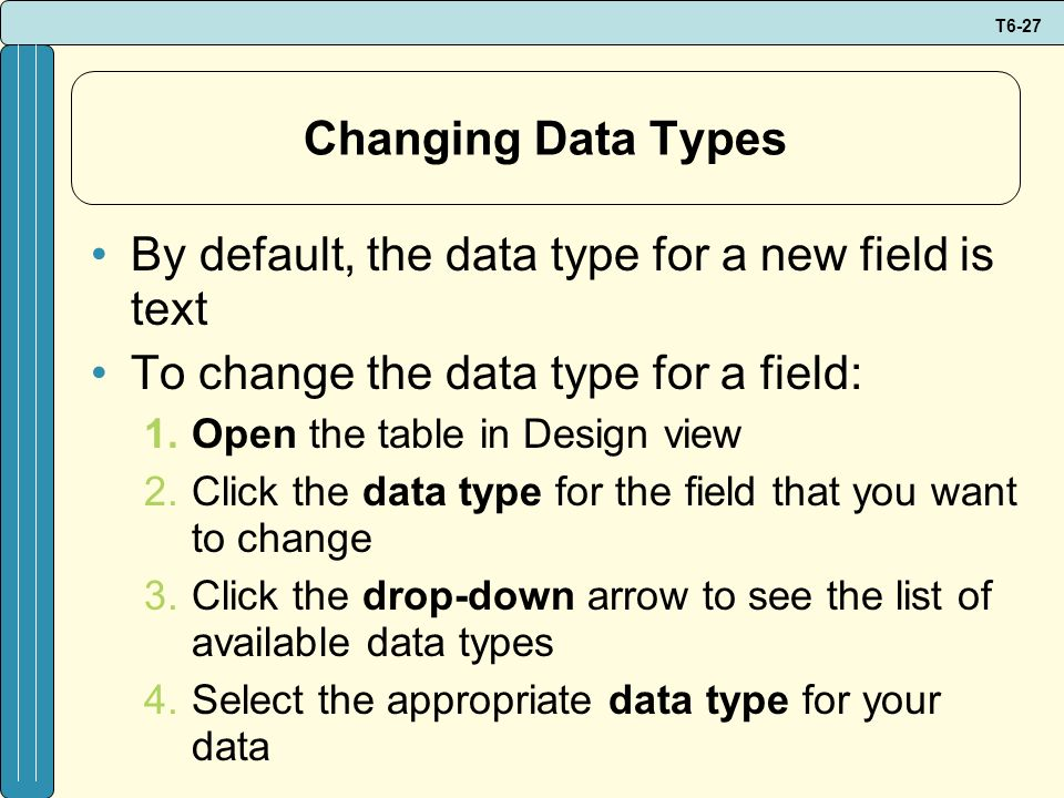 By default, the data type for a new field is text