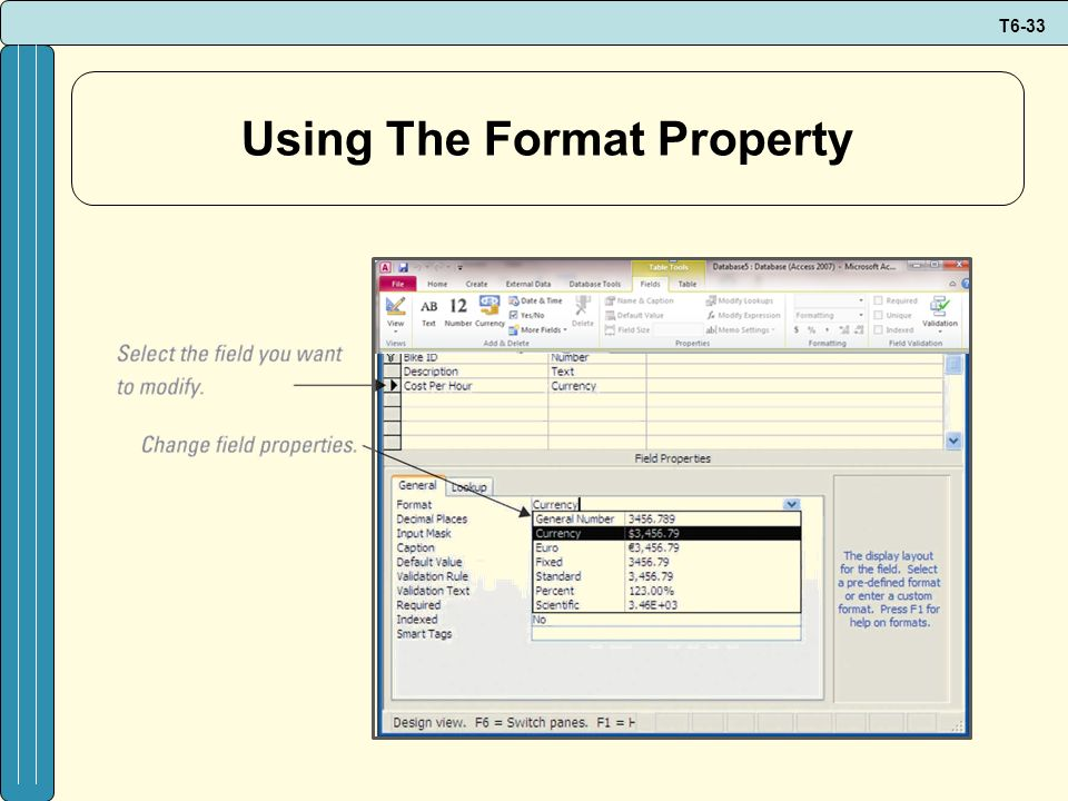 Using The Format Property