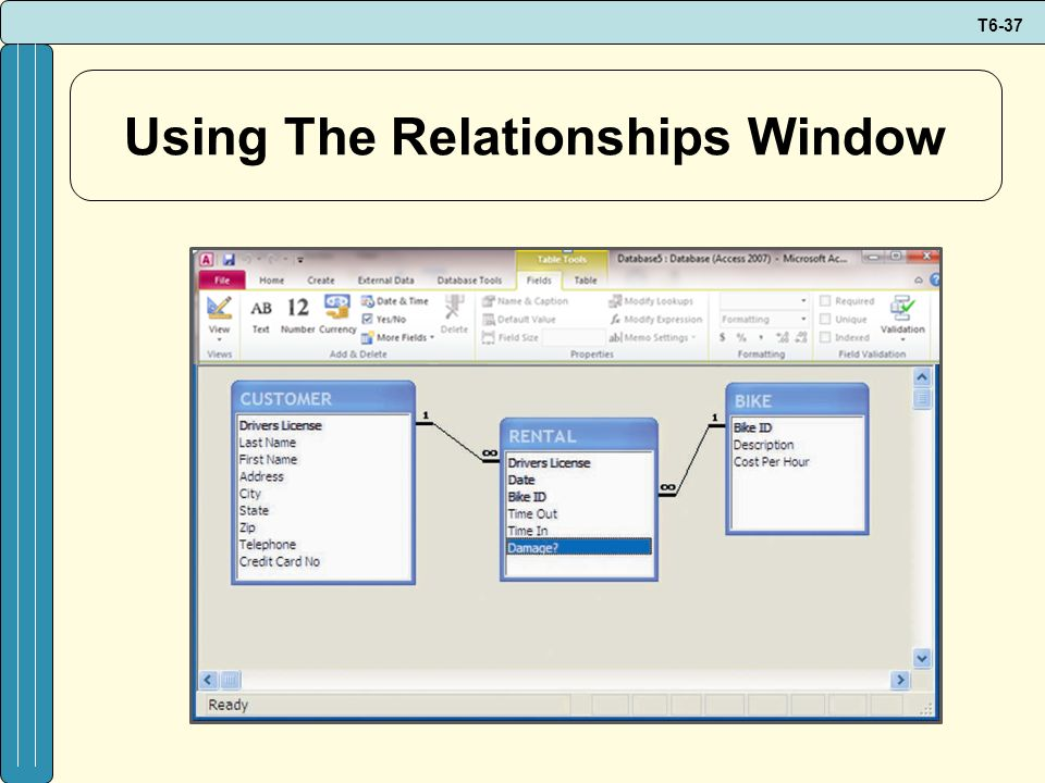 Using The Relationships Window