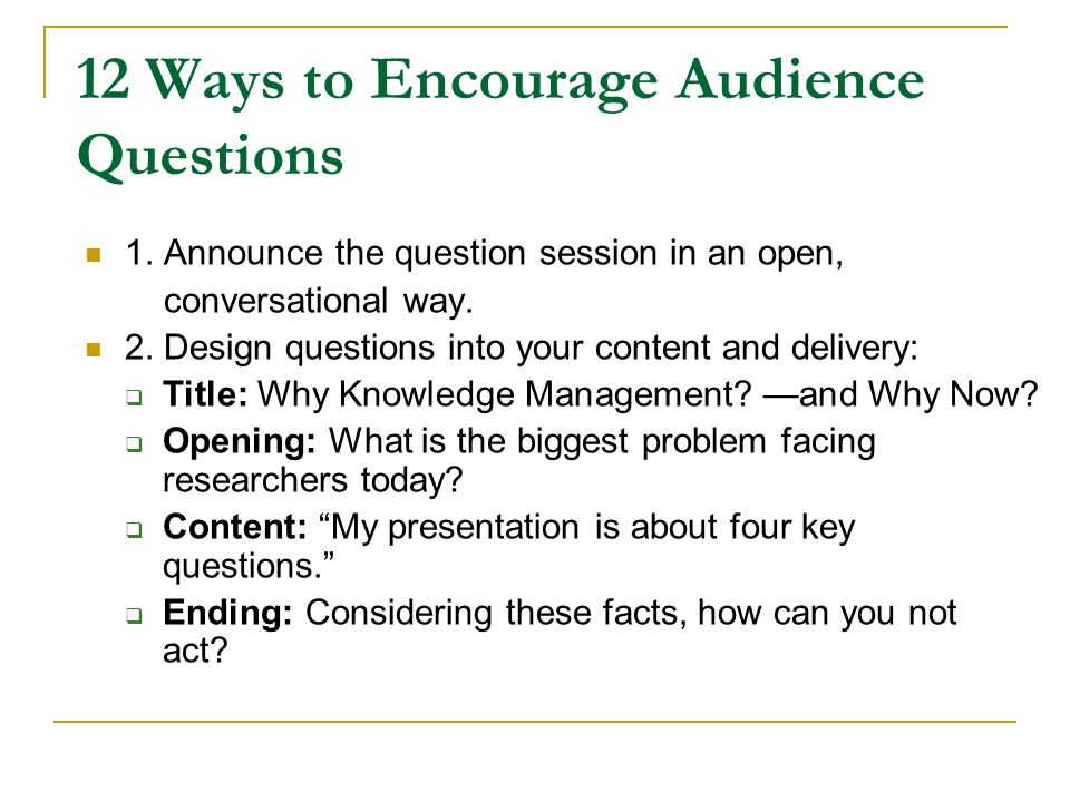 how to ask good questions academic conference