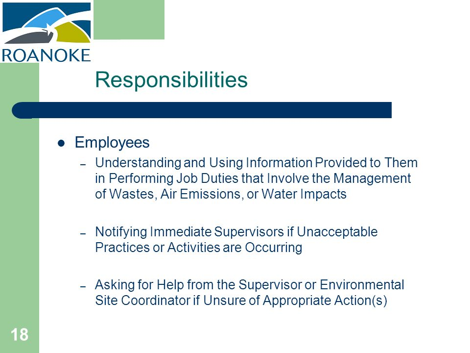 Responsibilities Employees