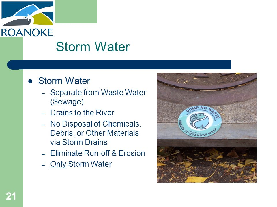 Storm Water Storm Water Separate from Waste Water (Sewage)