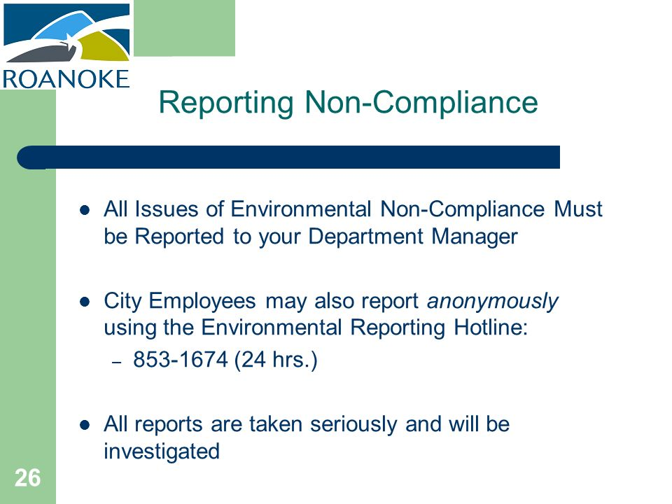 Reporting Non-Compliance