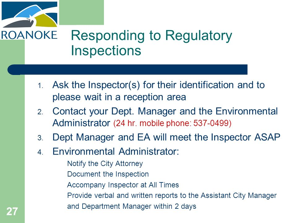 Responding to Regulatory Inspections