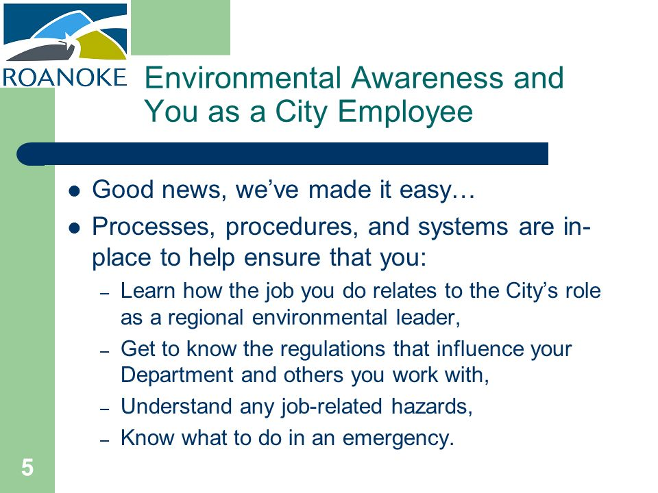 Environmental Awareness and You as a City Employee