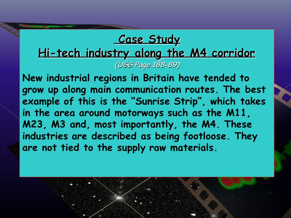 Case Study Hi-tech industry along the M4 corridor