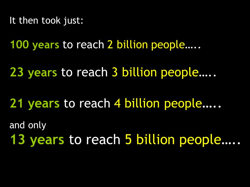 13 years to reach 5 billion people…..